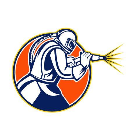 Ilustración del icono de la mascota de un chorro de arena o chorro de arena abrasivo visto desde el lado dentro del círculo sobre fondo aislado en estilo retro.