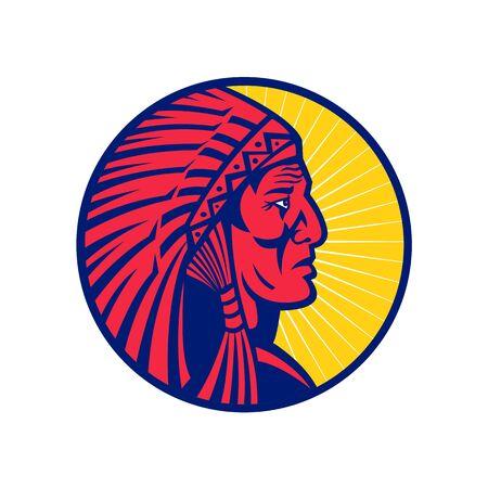 Ilustración del icono de la mascota de la cabeza de un antiguo jefe indio nativo americano con un tocado de plumas o un capó de guerra visto desde el lado dentro del círculo sobre fondo aislado en estilo retro.