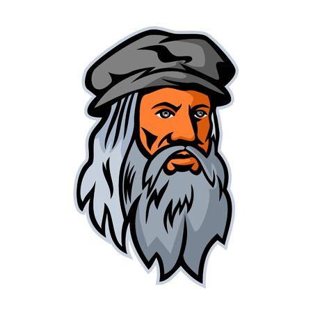 Ilustración del icono de la mascota de la cabeza de Leonardo di ser Piero da Vinci, más comúnmente Leonardo da Vinci, un erudito italiano del Renacimiento visto de frente sobre fondo aislado en estilo retro.