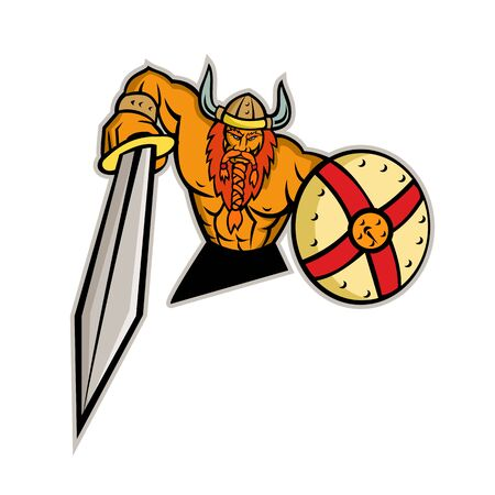 Mascot icon illustration of bust of a Viking, Norseman or Norse seafarer with sword and shield viewed from   front on isolated background in retro style.