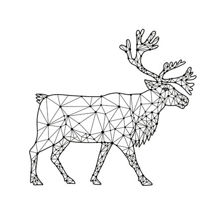 Nodes or mosaic low polygon style illustration of a reindeer or caribou in North America, a species of deer with circumpolar distribution, native to Arctic, northern Europe, Siberia viewed from side on isolated white background in black and white.