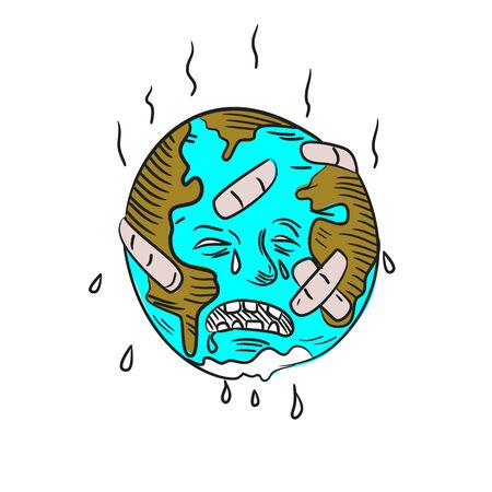 Doodle art illustration of sad mother earth with patches and bandages feeling hot, sweating and crying  done in drawing sketch style.