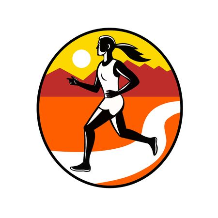Retro style illustration of a female marathon runner running in stride viewed from side with road or river and mountains set inside oval on isolated background.