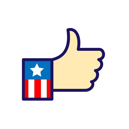 Icon retro style illustration of a hand with USA American stars and stripes flag sleeve with thumbs up or like showing approval on isolated background. Çizim
