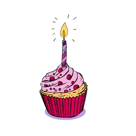 Drawing sketch style illustration of a a birthday muffin sprinkles cake or cupcake with one candle light burning on isolated white background.  イラスト・ベクター素材