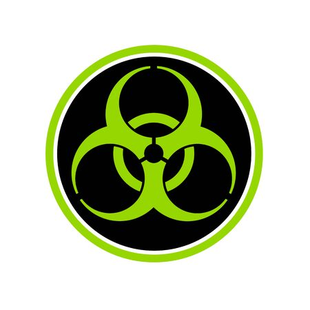 Icon retro style illustration of a biological hazard or biohazard symbol on black circle on isolated background.