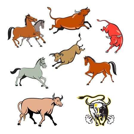 Set or collection of cartoon character mascot style illustration of farm animals such as horse, cow, bull, cattle, texas longhorn bull charging on isolated white background. Illustration