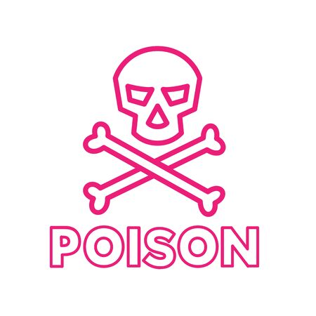 Icon retro style illustration of poison symbol with skull and crossbones on isolated background.