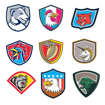 Set or collection of cartoon character mascot style illustration of heads of animals like rooster, dog, fox, cobra, unicorn, bulldog, eagle and cougar or mountain lion set in crest on isolated white background. Çizim