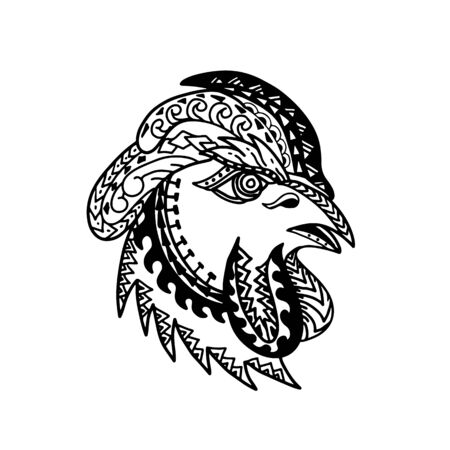 Tribal tattoo style illustration of head of a rooster, chicken or a young cockerel, a  male gallinaceous bird viewed from side on isolated background in black and white. Illustration
