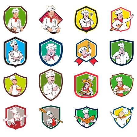 Set or Collection of cartoon character style illustration of bust of a chef, baker or cook set inside crest or shield on isolated white background. Illustration