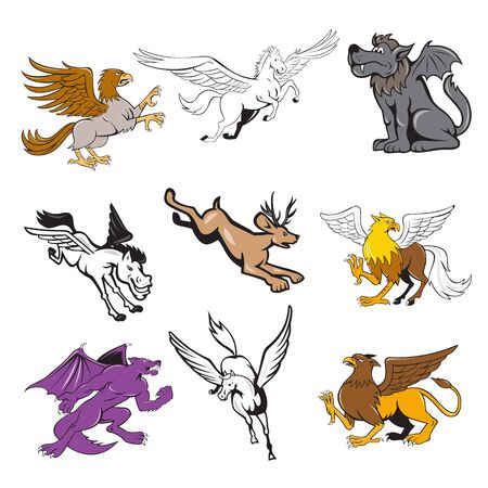 Set or collection of cartoon character mascot style illustration of legendary, mythical, mythological creature or fabulous beast  like the hipogriff, griffin, jackalope, kludde wolf and pegasus on iso