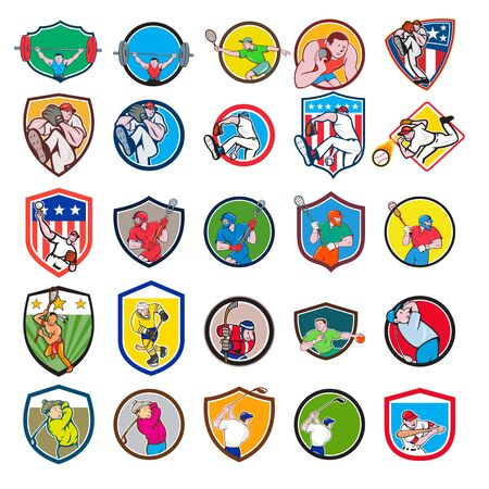 Set or collection of cartoon character mascot icon style illustration of a weightlifter, tennis player, shotput, baseball, lacrosse, ice hockey, handball and golfer in circle or crest shield on isolat