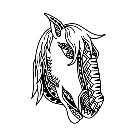 Tribal tattoo style illustration of  head of a horse, colt, stallion or bronco viewed from side on isolated white background done in black and white.