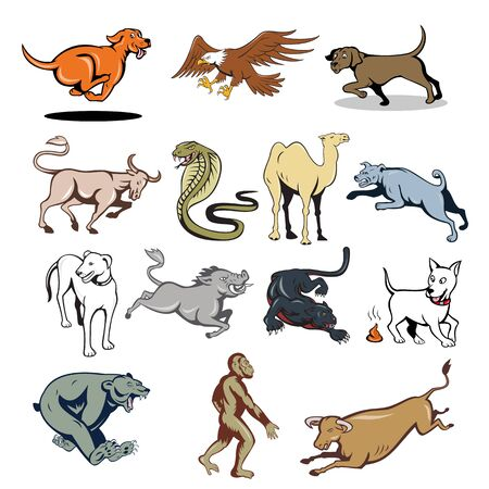Set or collection of cartoon character mascot style illustration of farm animal and wildlife like dog, cow, bear, ape, eagle, camel, snake, wild boar and panther on isolated white background.