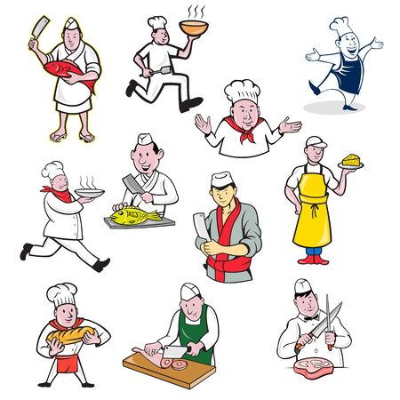 Set or collection of cartoon character mascot style illustration of food worker such as chef, cook, baker, cheesemaker, fishmonger or butcher full body or bust on isolated white background.
