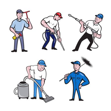 Set or collection of cartoon character mascot style illustration of a window cleaner, janitor, chimney sweeper, janitor and pressure spray washer full body on isolated white background.