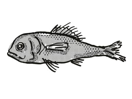 Retro cartoon style drawing of a Eyebrow Bigscale , a native Australian marine life fish species viewed from side on isolated white background done in black and white.