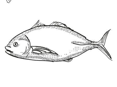Retro cartoon style drawing of a trevally, a native New Zealand marine life species viewed from side on isolated white background done in black and white Фото со стока