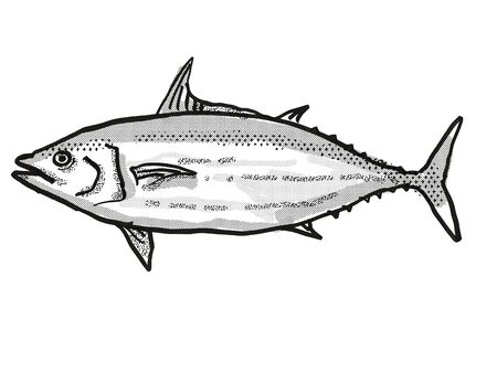 Retro cartoon style drawing of a Skipjack Tuna  , a native Australian marine life species viewed from side on isolated white background done in black and white.