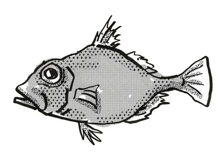 Retro cartoon style drawing of a False Dory , a native Australian marine life species viewed from side on isolated white background done in black and white.