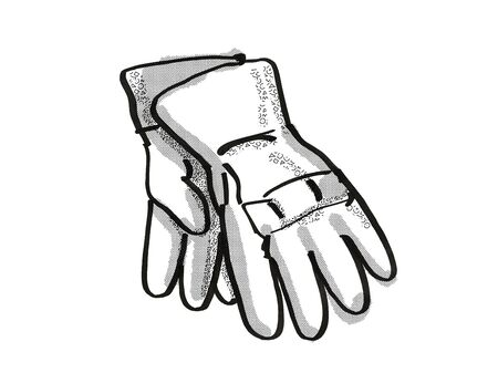 Retro cartoon style drawing of a pair of gardening gloves on isolated white background done in black and white