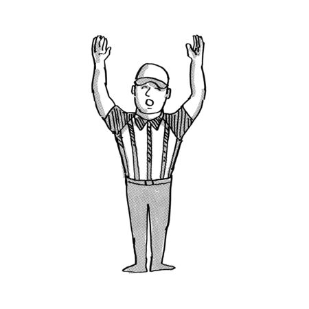 Cartoon style illustration of an American football official or referee done in black and white on isolated white background