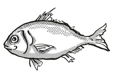 Retro cartoon style drawing of a Longspine Beardfish  , a native Australian marine life species viewed from side on isolated white background done in black and white.