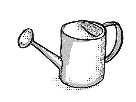 Retro cartoon style drawing of a water or watering can, a garden or gardening tool equipment on isolated white background done in black and white Stock Photo