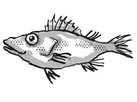 Retro cartoon style drawing of a Longsnout No-line Scorpionfish , a native Australian marine life species viewed from side on isolated white background done in black and white.