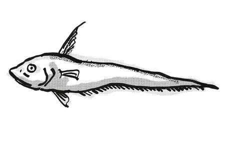 Retro cartoon style drawing of a Smallpore Whiptail  , a native Australian marine life species viewed from side on isolated white background done in black and white. Banco de Imagens - 130282746