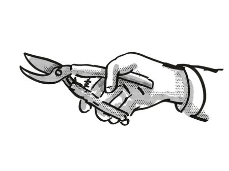 Retro cartoon style drawing of a hand holding secateurs, a garden or gardening tool equipment on isolated white background done in black and white