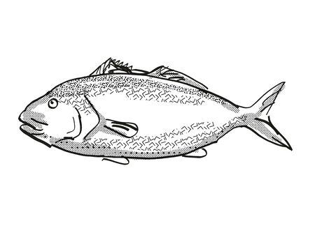 Retro cartoon style drawing of a blue moki  , a native New Zealand marine life species viewed from side on isolated white background done in black and white