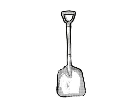 Retro cartoon style drawing of a D-Handle scoop , a garden or gardening tool equipment on isolated white background done in black and white