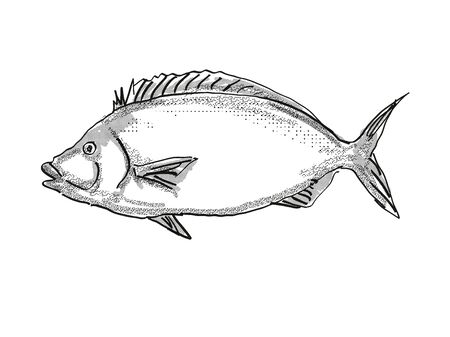 Retro cartoon style drawing of a porae, a native New Zealand marine life species viewed from side on isolated white background done in black and white Фото со стока