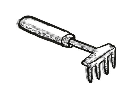 Retro cartoon style drawing of a hand rake , a garden or gardening tool equipment on isolated white background done in black and white