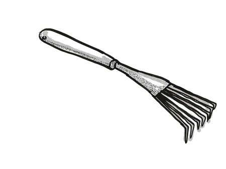 Retro cartoon style drawing of a hand leaf rake, a garden or gardening tool equipment on isolated white background done in black and white