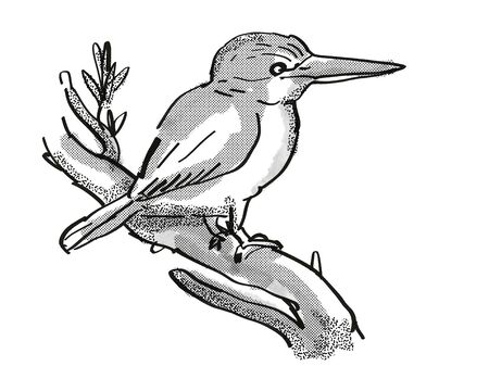 Retro cartoon style drawing of a kingfisher, a New Zealand bird on isolated white background done in black and white Stock Photo