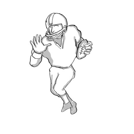 Cartoon style illustration of an American football player done in black and white on isolated white background