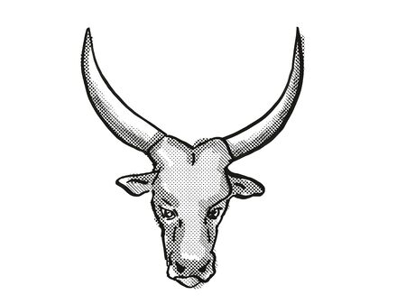 Retro cartoon style drawing of head of an Aure et Saint-Girons or Casta  bull or cow, a cattle breed viewed from front  on isolated white background done in black and white