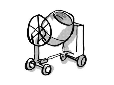 Retro cartoon style drawing of a cement mixer on isolated white background done in black and white 版權商用圖片