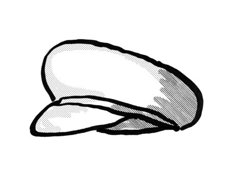 Retro cartoon style drawing of a cheesecutter, flat cap, scally cap, a rounded cap with a small stiff brim in front  on isolated white background done in black and white