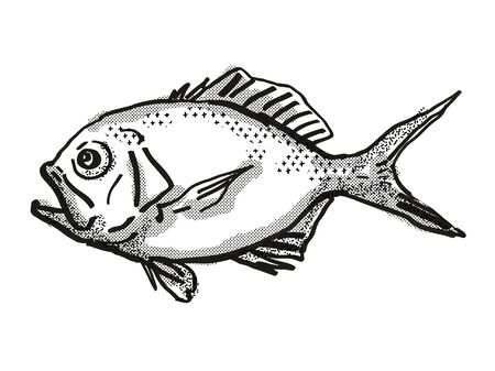 Retro cartoon style drawing of a Yelloweye Redfish  , a native Australian marine life species viewed from side on isolated white background done in black and white. Banco de Imagens