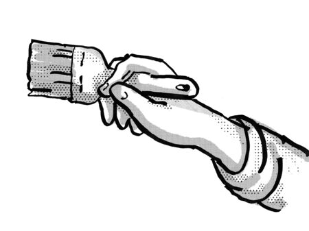 Retro cartoon style drawing of a domestic house painter hand painting with paintbrush on isolated white background done in black and white