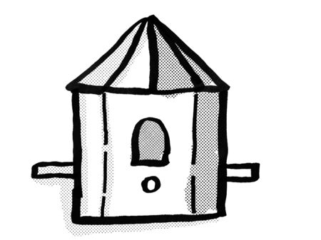 Retro cartoon style drawing of a birdhouse or bird house on isolated white background done in black and white