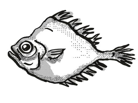 Retro cartoon style drawing of a smooth oreo or smooth dory, a native New Zealand marine life species viewed from side on isolated white background done in black and white