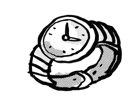 Retro cartoon style drawing of a vintage wristwatch or wrist watch on isolated white background done in black and white