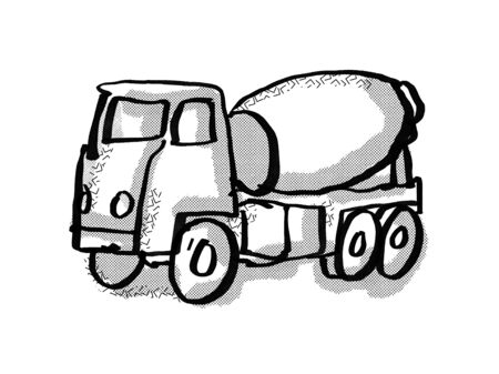 Retro cartoon style drawing of a cement truck on isolated white background done in black and white