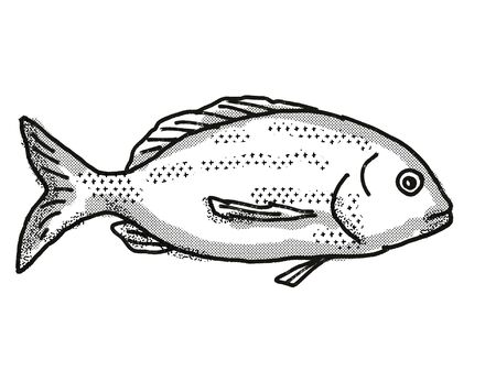 Retro cartoon style drawing of a Yellowfin Bream , a native Australian marine life species viewed from side on isolated white background done in black and white. Фото со стока