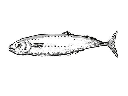 Retro cartoon style drawing of a Koheru, a native New Zealand marine life species viewed from side on isolated white background done in black and white Фото со стока